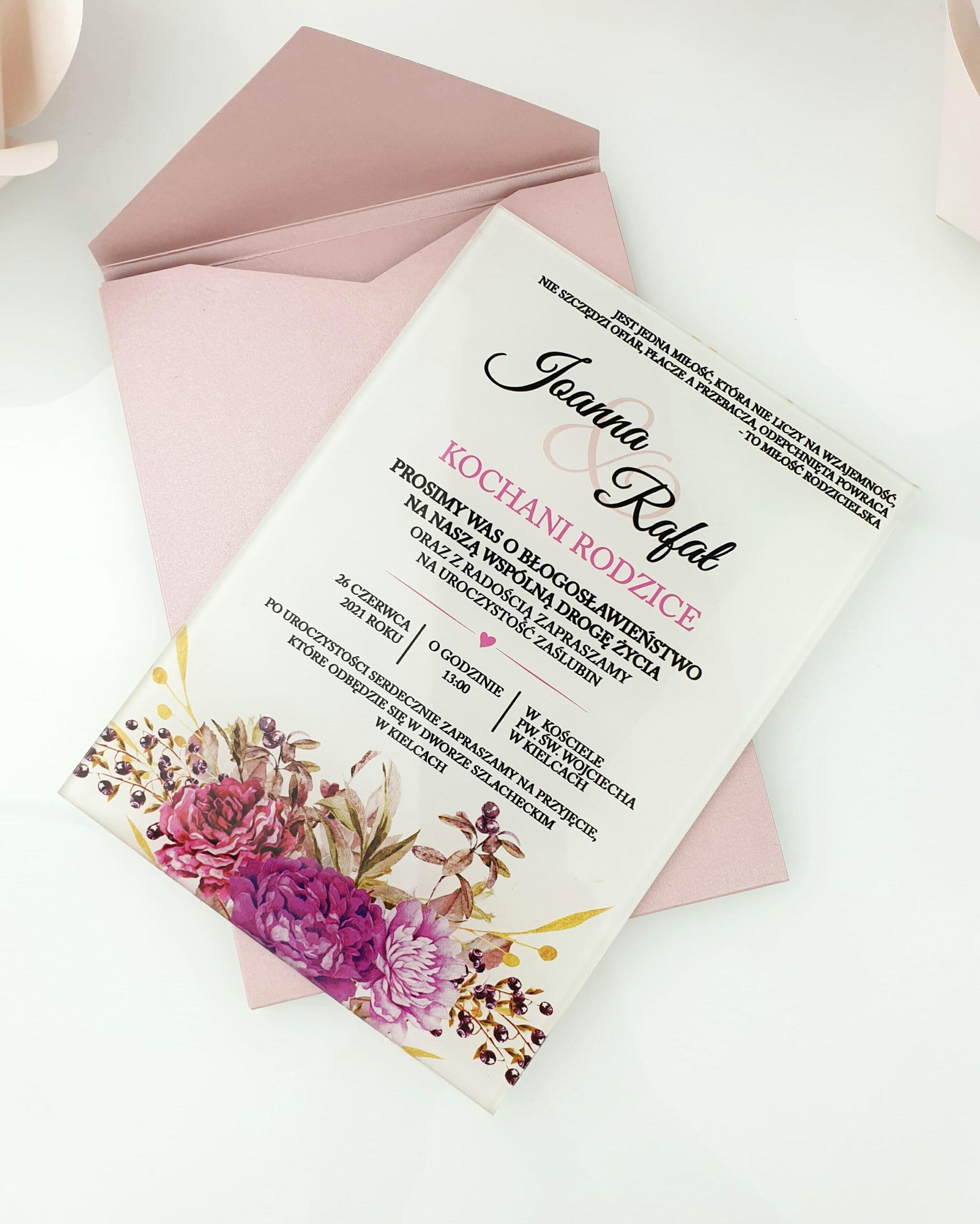 Boho flower zaproszenie na ślub szklana tafla