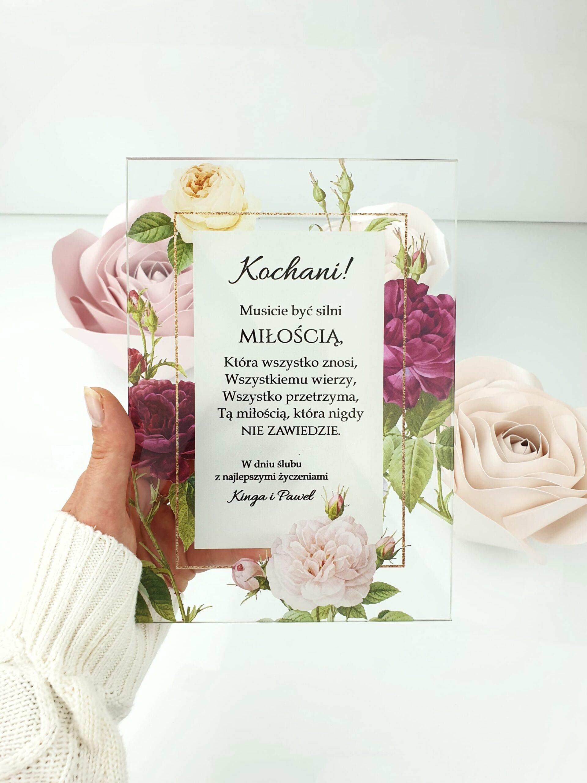 Classic rose 2 życzenia na ślub szklana tafla 3