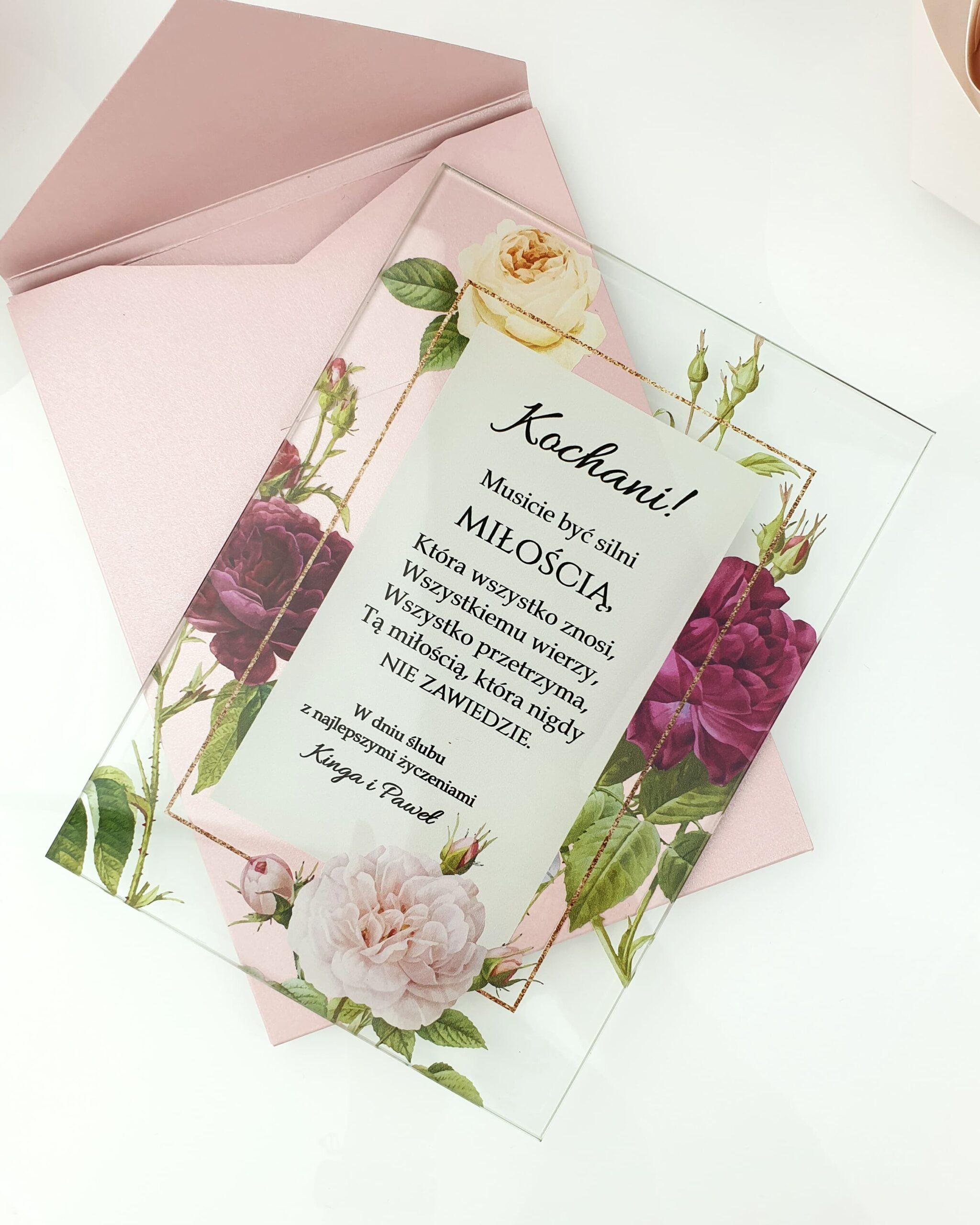 Classic rose 2 życzenia na ślub szklana tafla