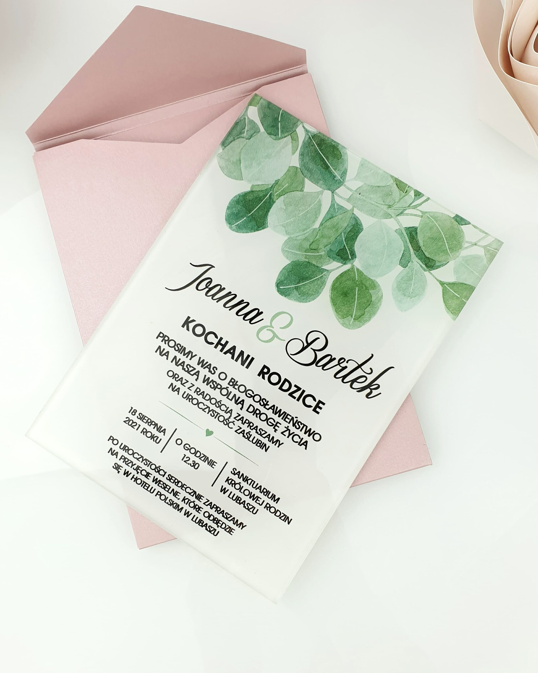 Eukaliptus zaproszenie na ślub szklana tafla