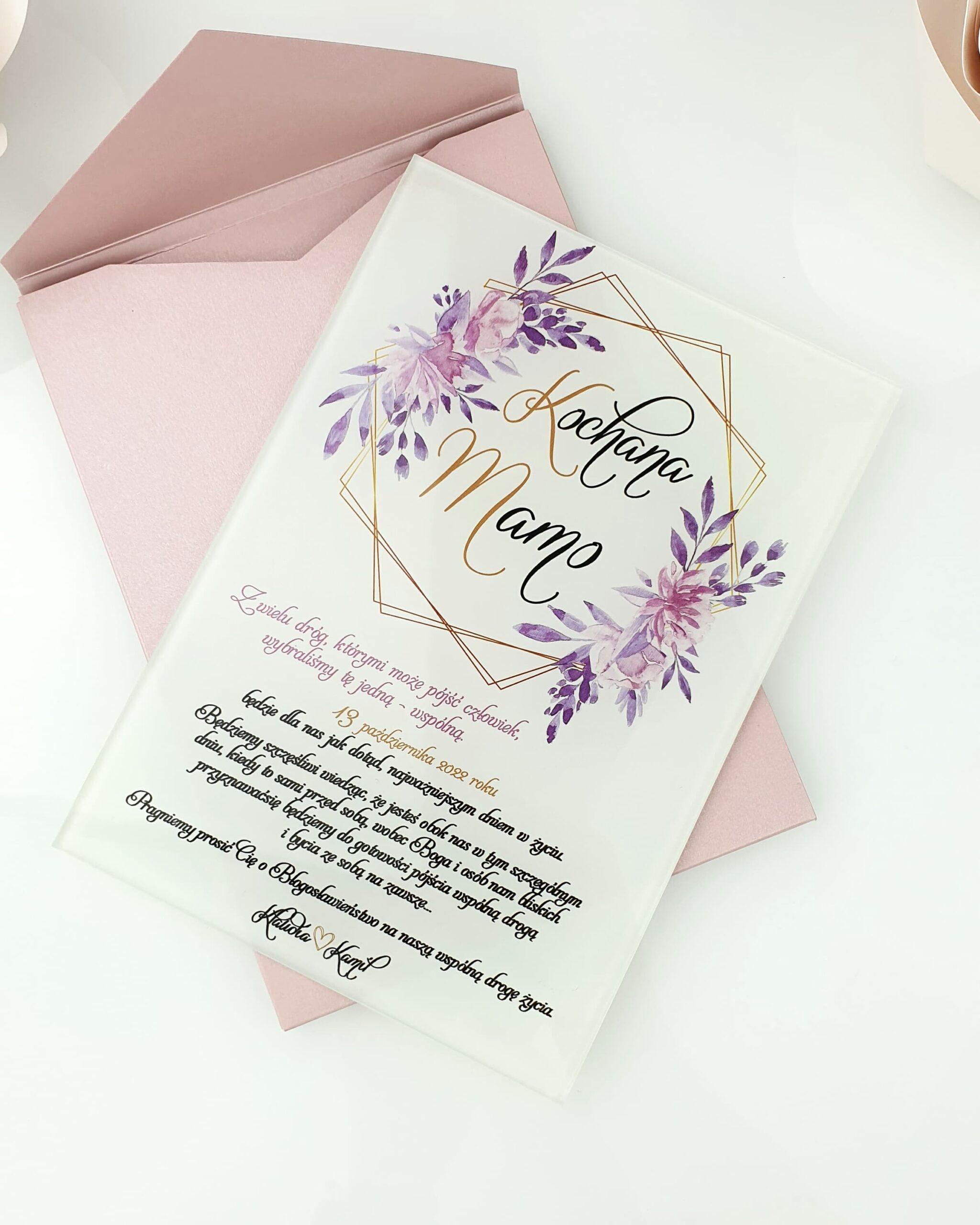 Glamour wianek fioletowy zaproszenie na ślub szklana tafla