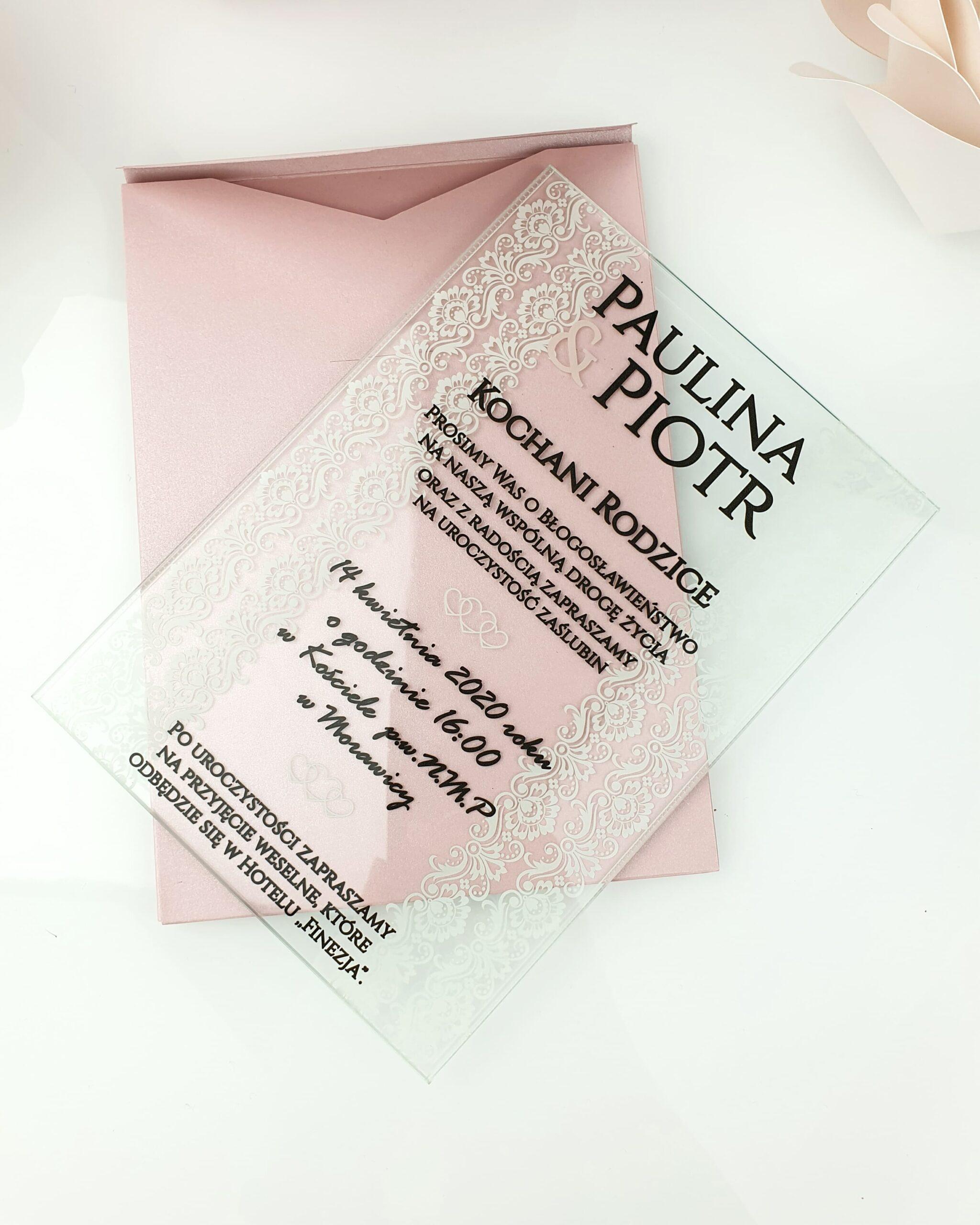 Lace zaproszenie na ślub szklana tafla