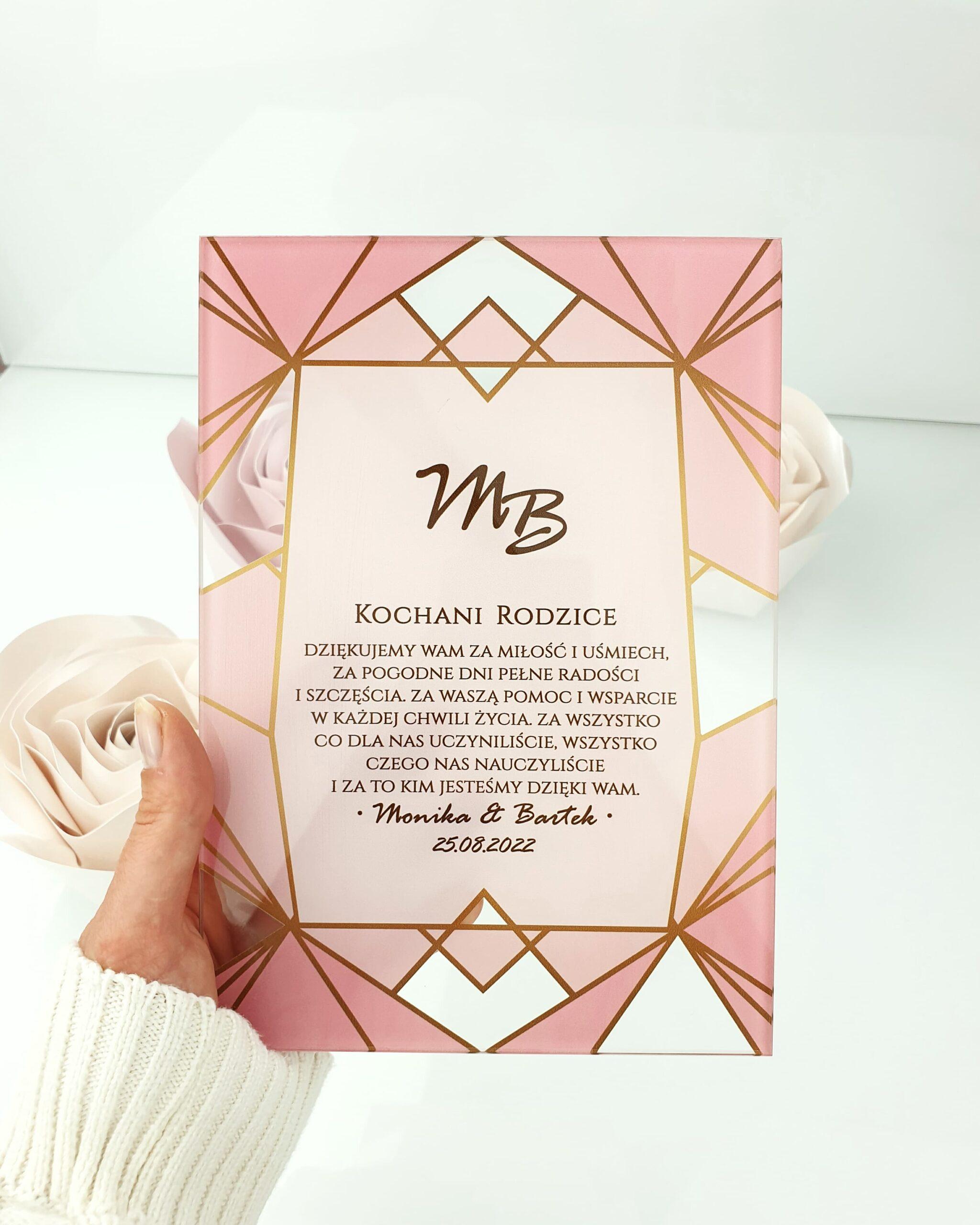 Pink geometric zaproszenie na ślub szklana tafla 2