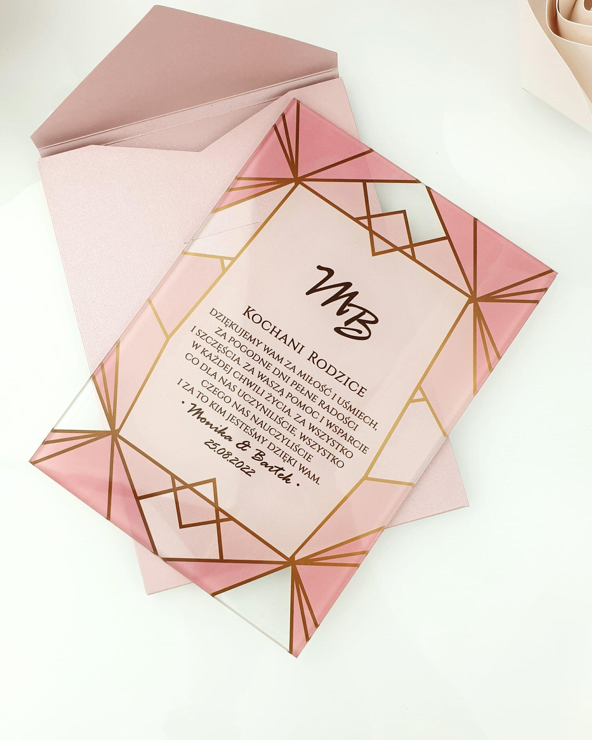 Pink geometric zaproszenie na ślub szklana tafla