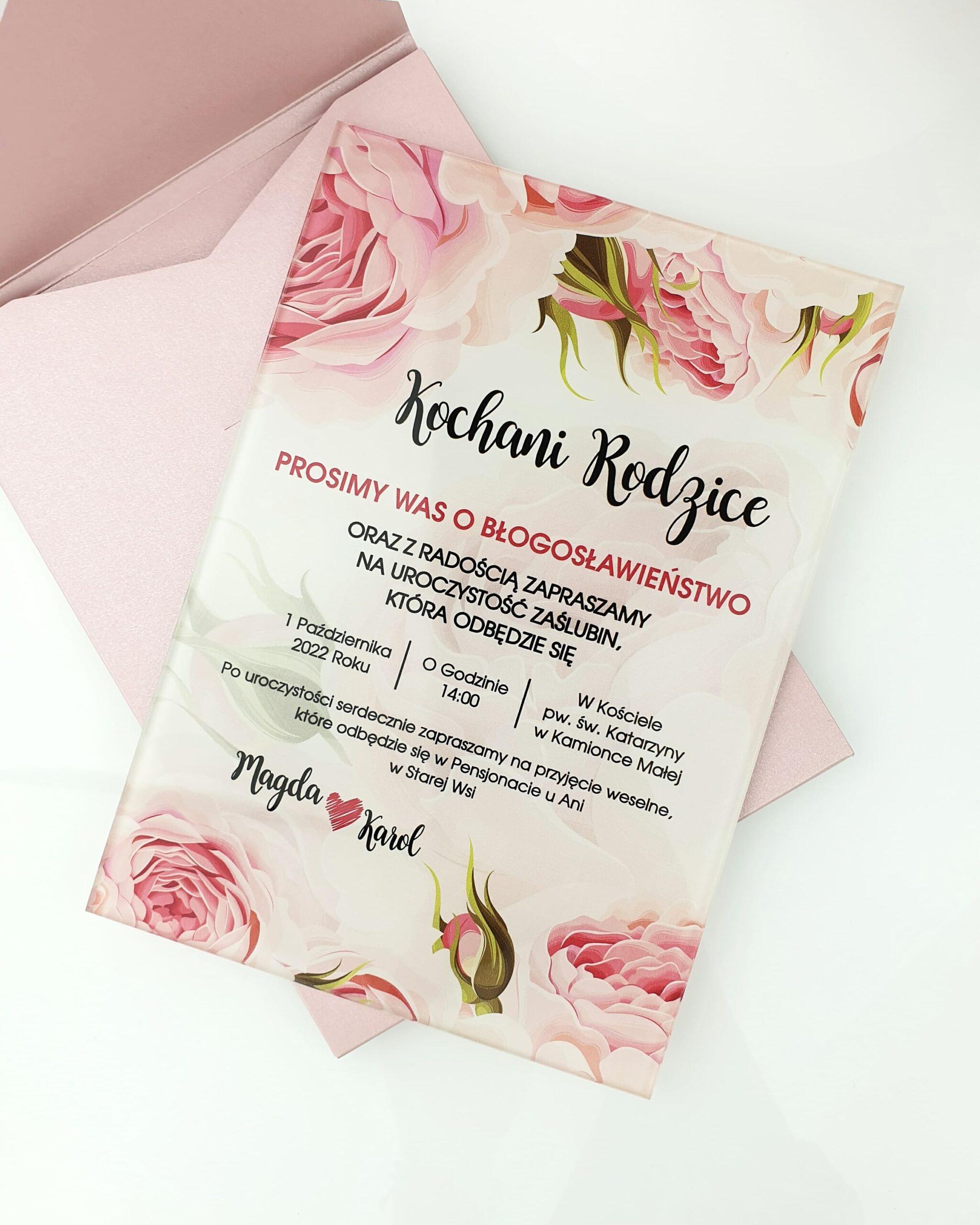 Pink roses special zaproszenie na ślub szklana tafla