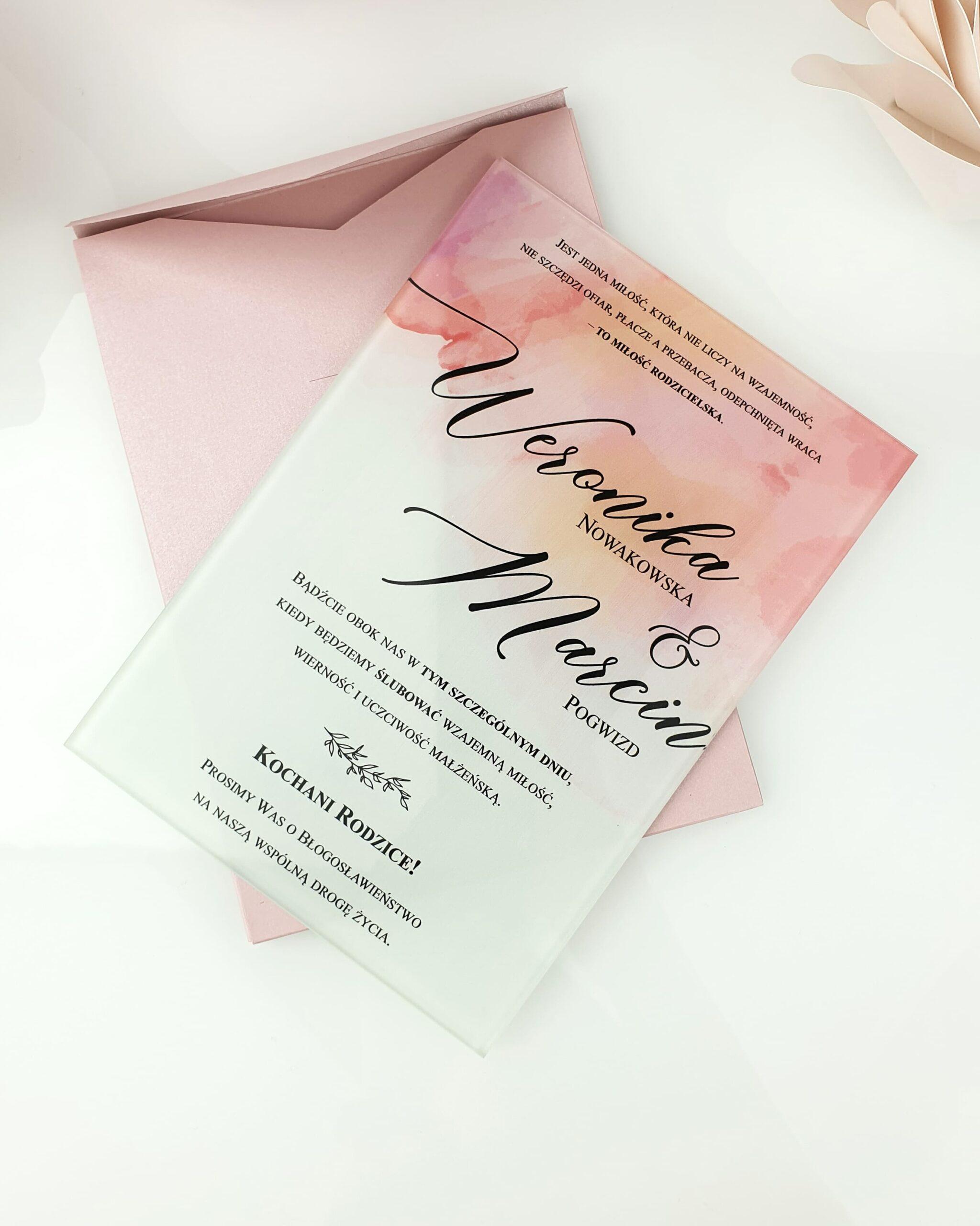 Pink side zaproszenie na ślub szklana tafla