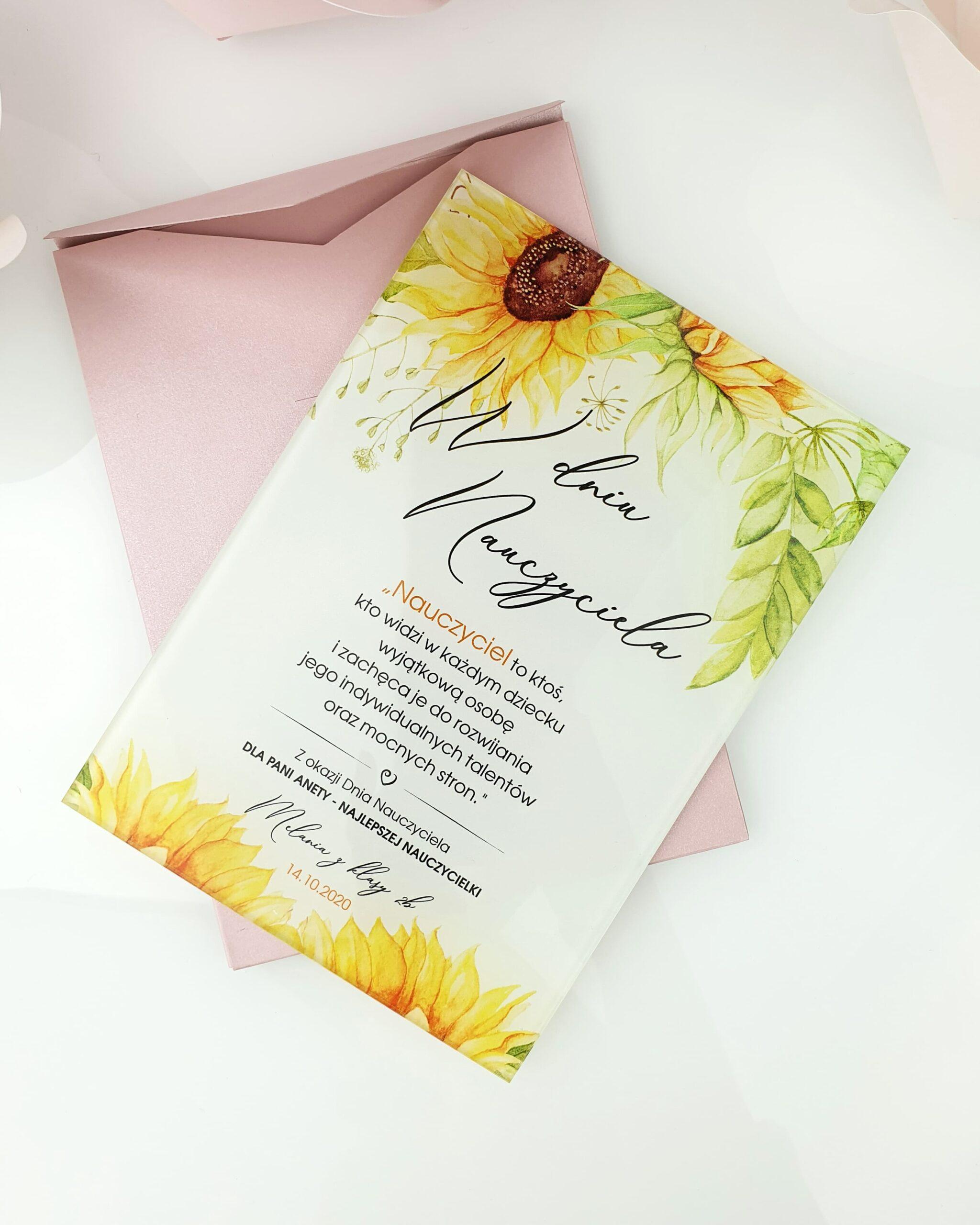 Słoneczniki zaproszenie na ślub szklana tafla 1