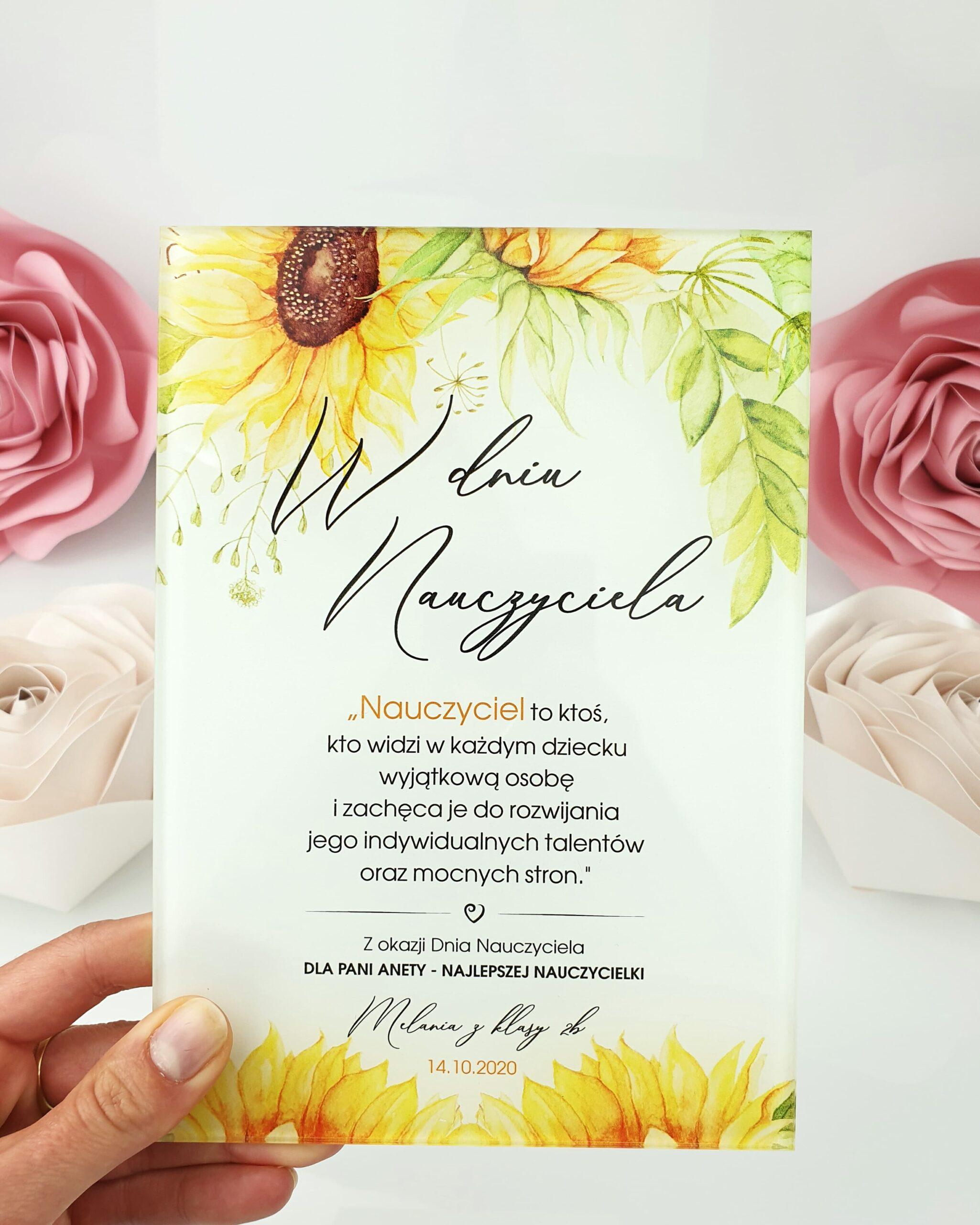 Słoneczniki zaproszenie na ślub szklana tafla 2