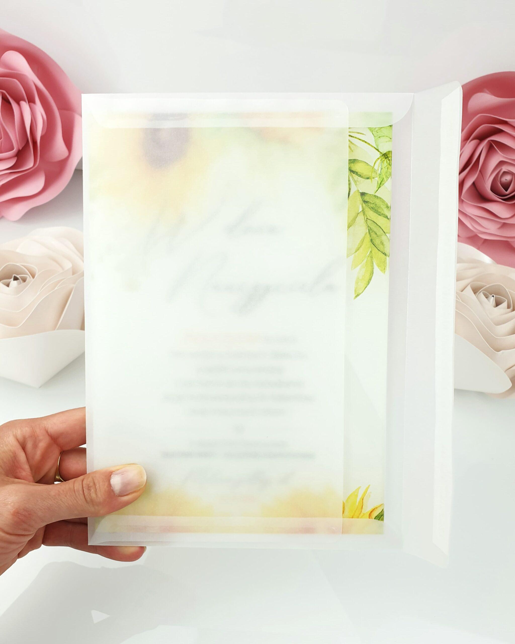 Słoneczniki zaproszenie na ślub szklana tafla 3