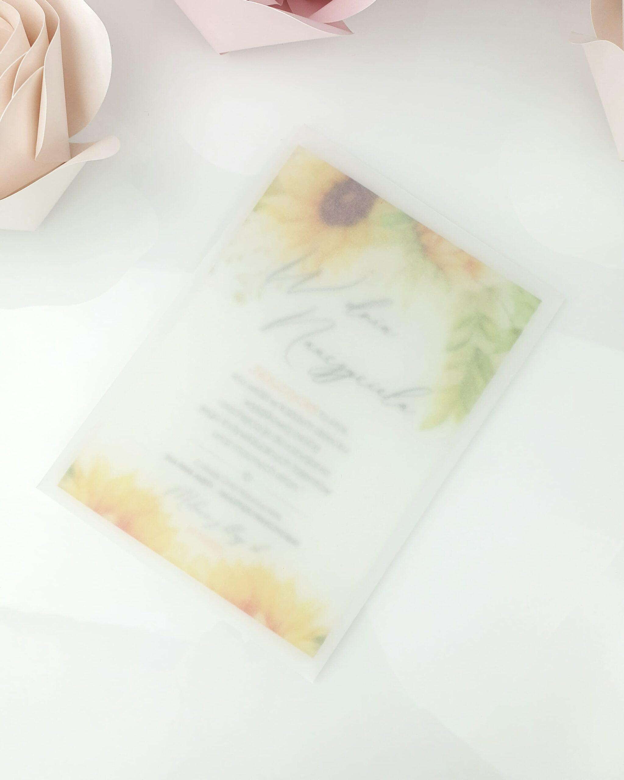 Słoneczniki zaproszenie na ślub szklana tafla 4