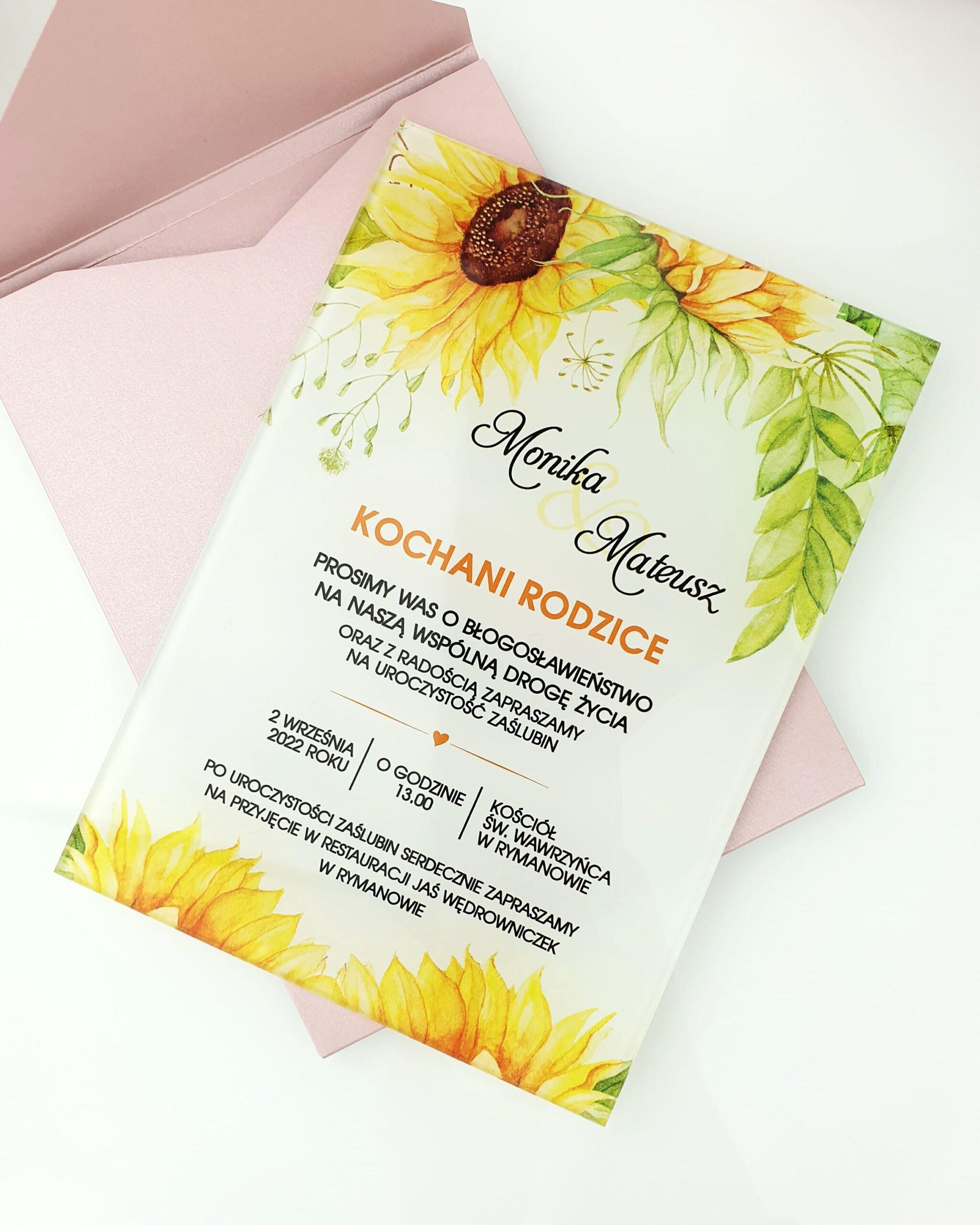 Słoneczniki zaproszenie na ślub szklana tafla