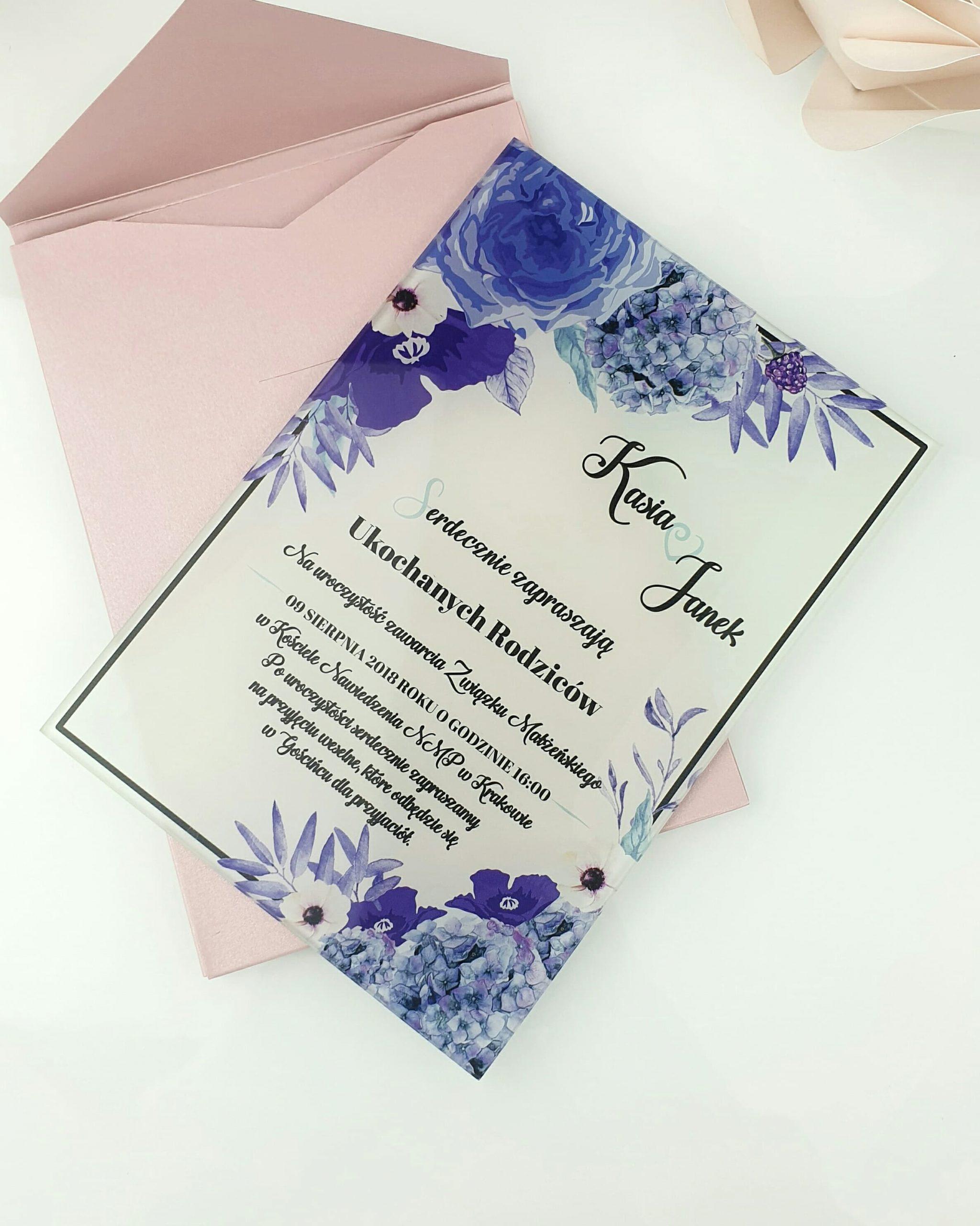 Blue bouquet zaproszenie ślubne szklana tafla