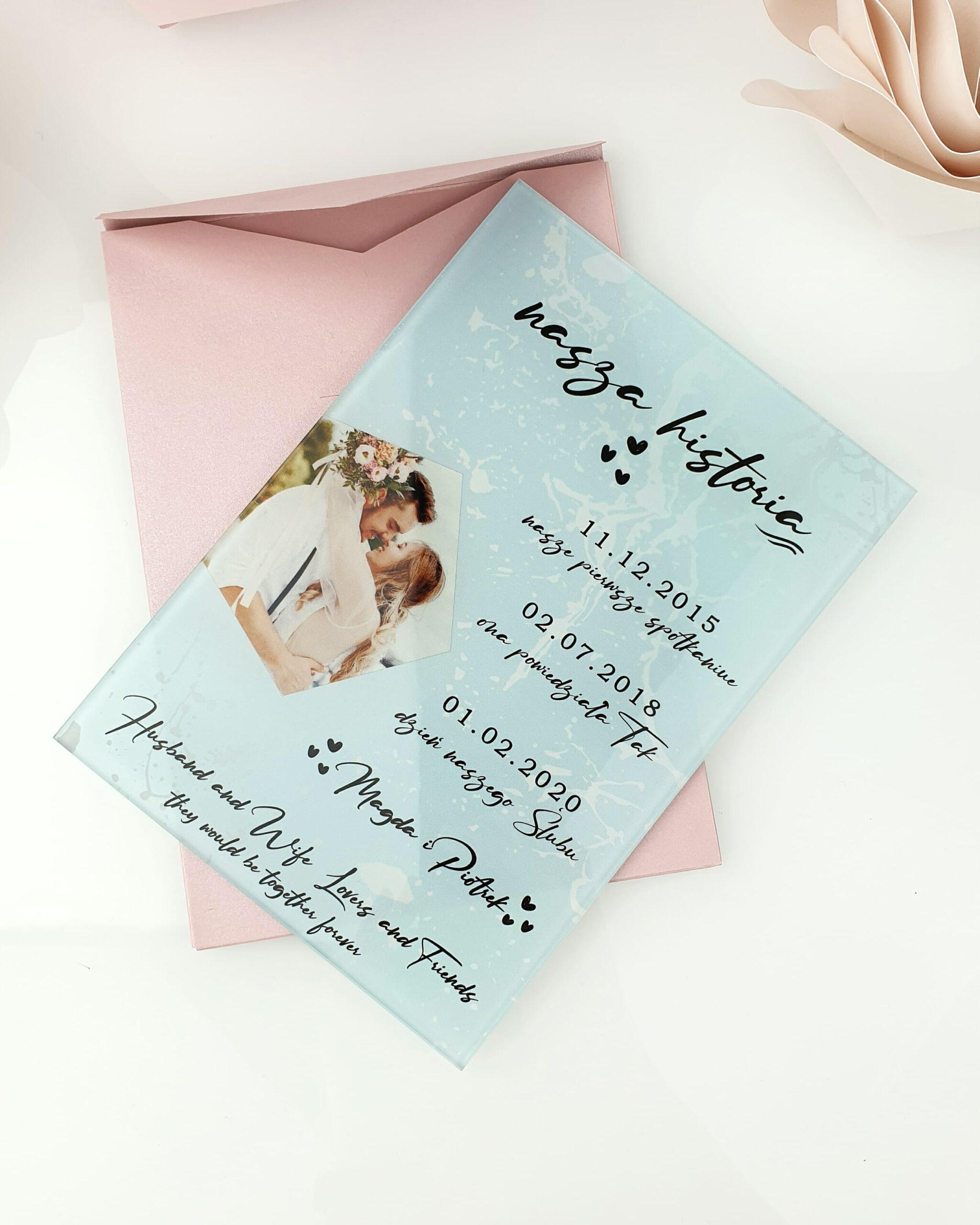 Blue light zaproszenie na ślub szklana tafla