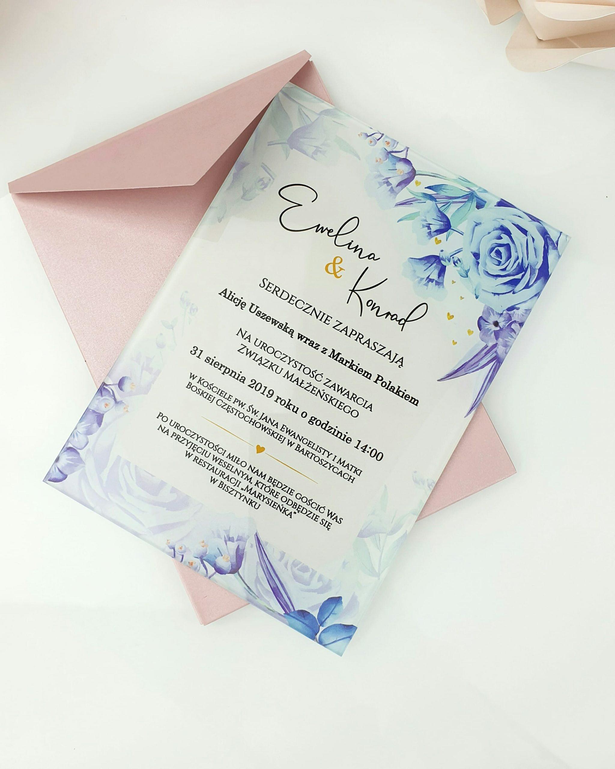 Blue sky zaproszenie na ślub szklana tafla 1