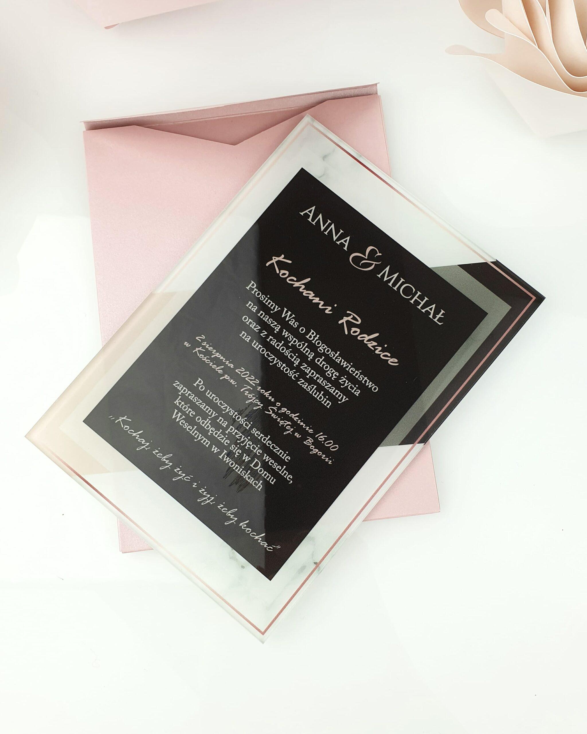Classis style 1 zaproszenie na ślub szklana tafla