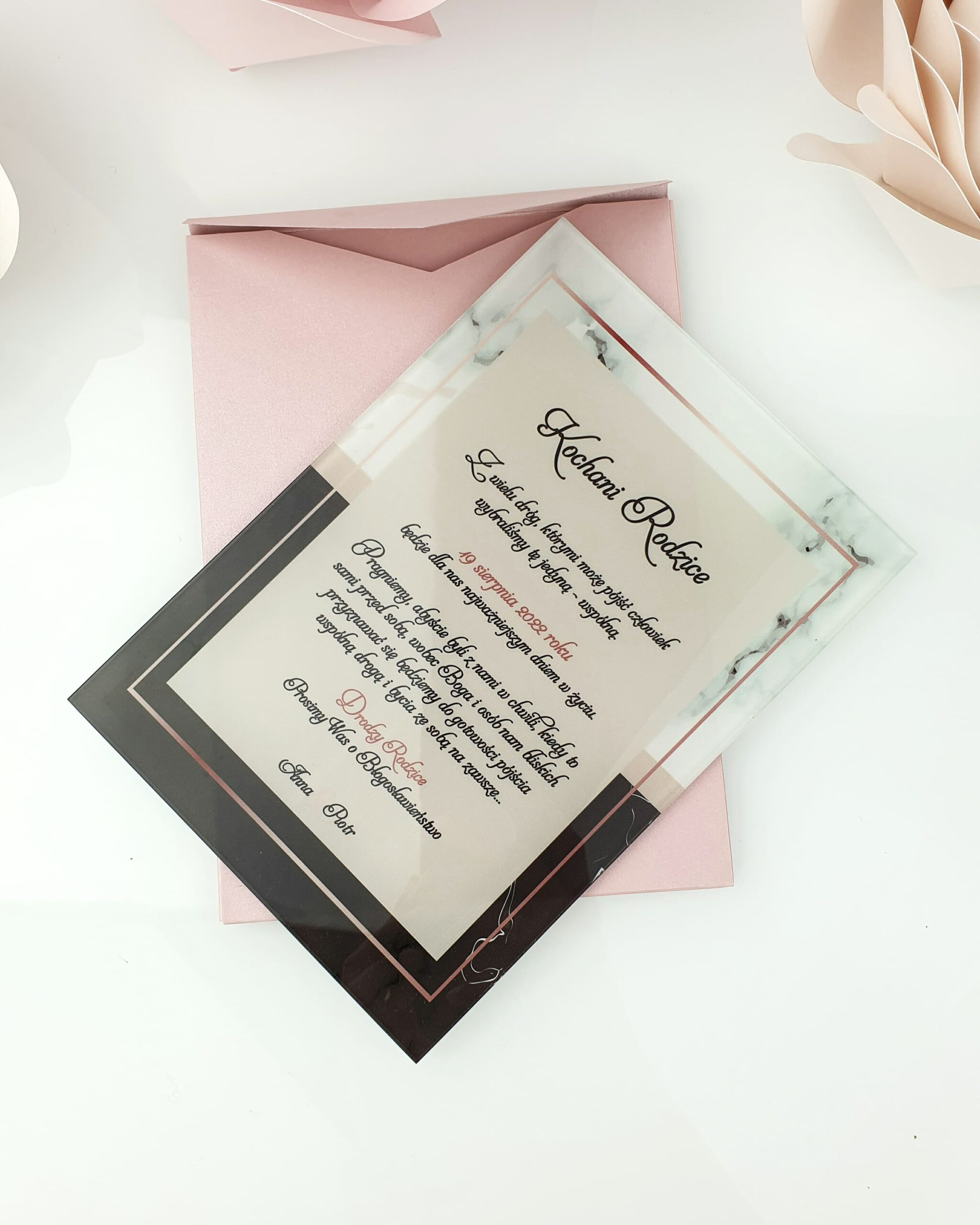 Classis style 2 zaproszenie na ślub szklana tafla 1