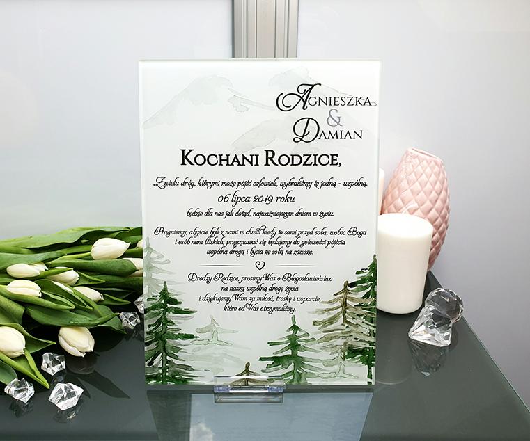 Forest zaproszenie dla rodziców szklana tafla