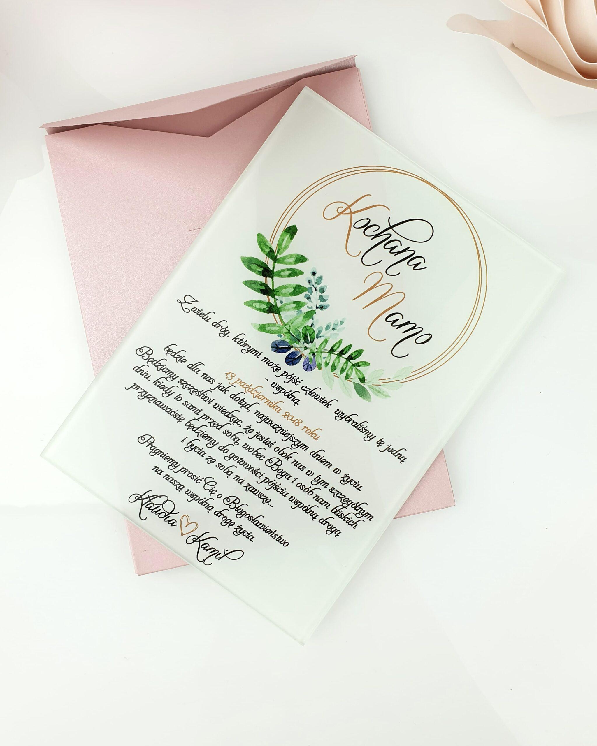 Glamour wianek zielony zaproszenie na ślub szklana tafla
