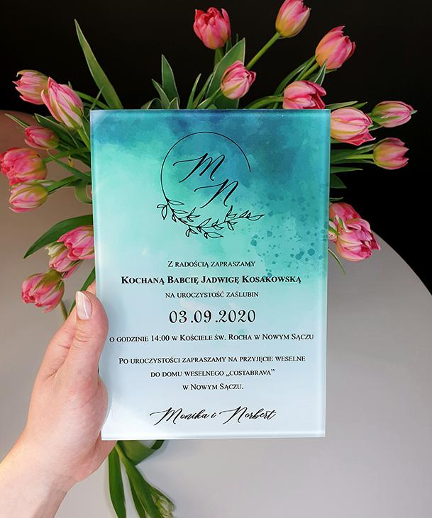 Green side zaproszenie dla rodziców szklana tafla