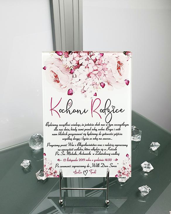 Lilac peony zaproszenie na ślub szklana tafla