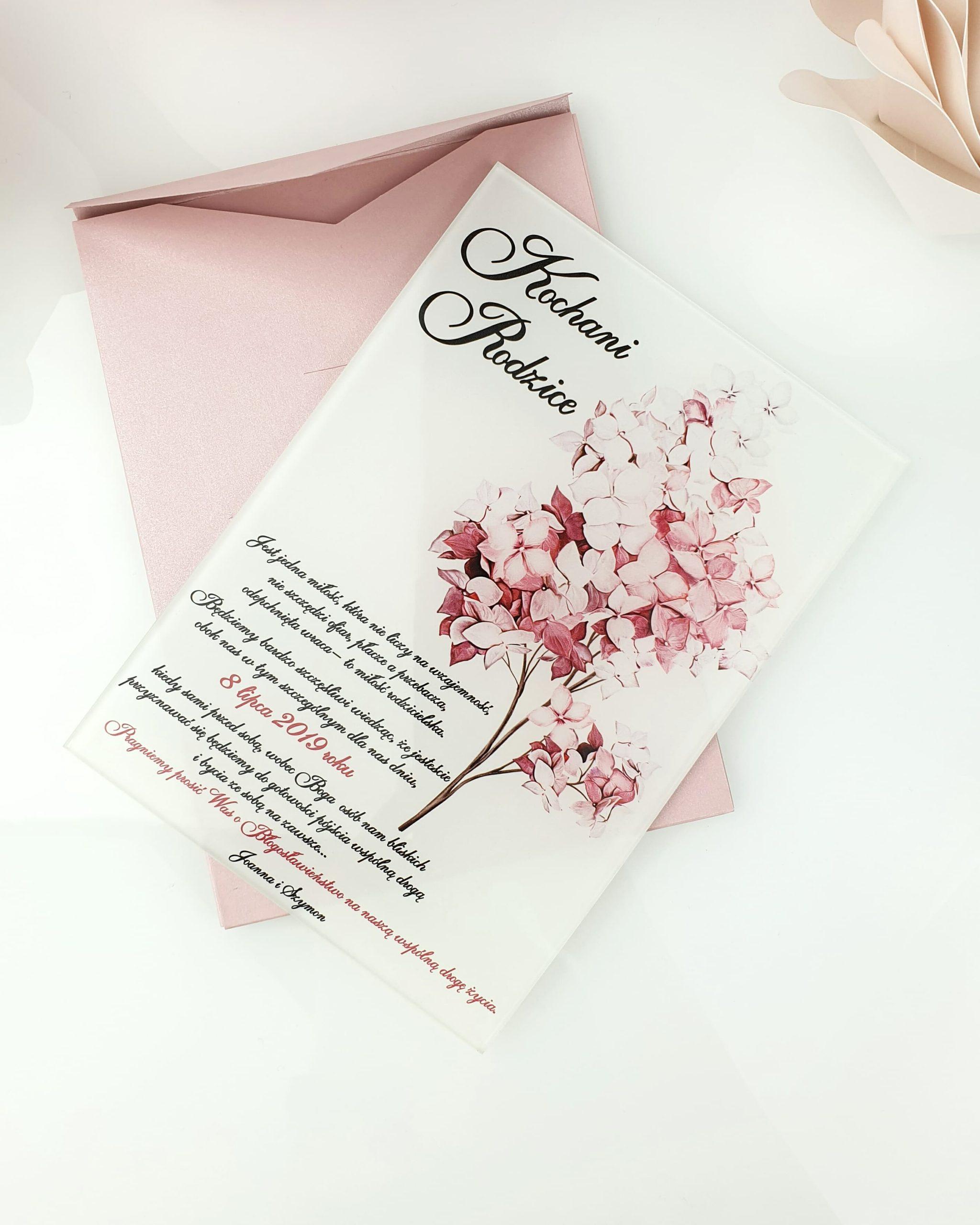 Lilac zaproszenie na ślub szklana tafla 1