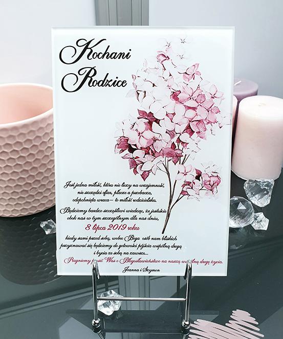 Lilac zaproszenie na ślub szklana tafla