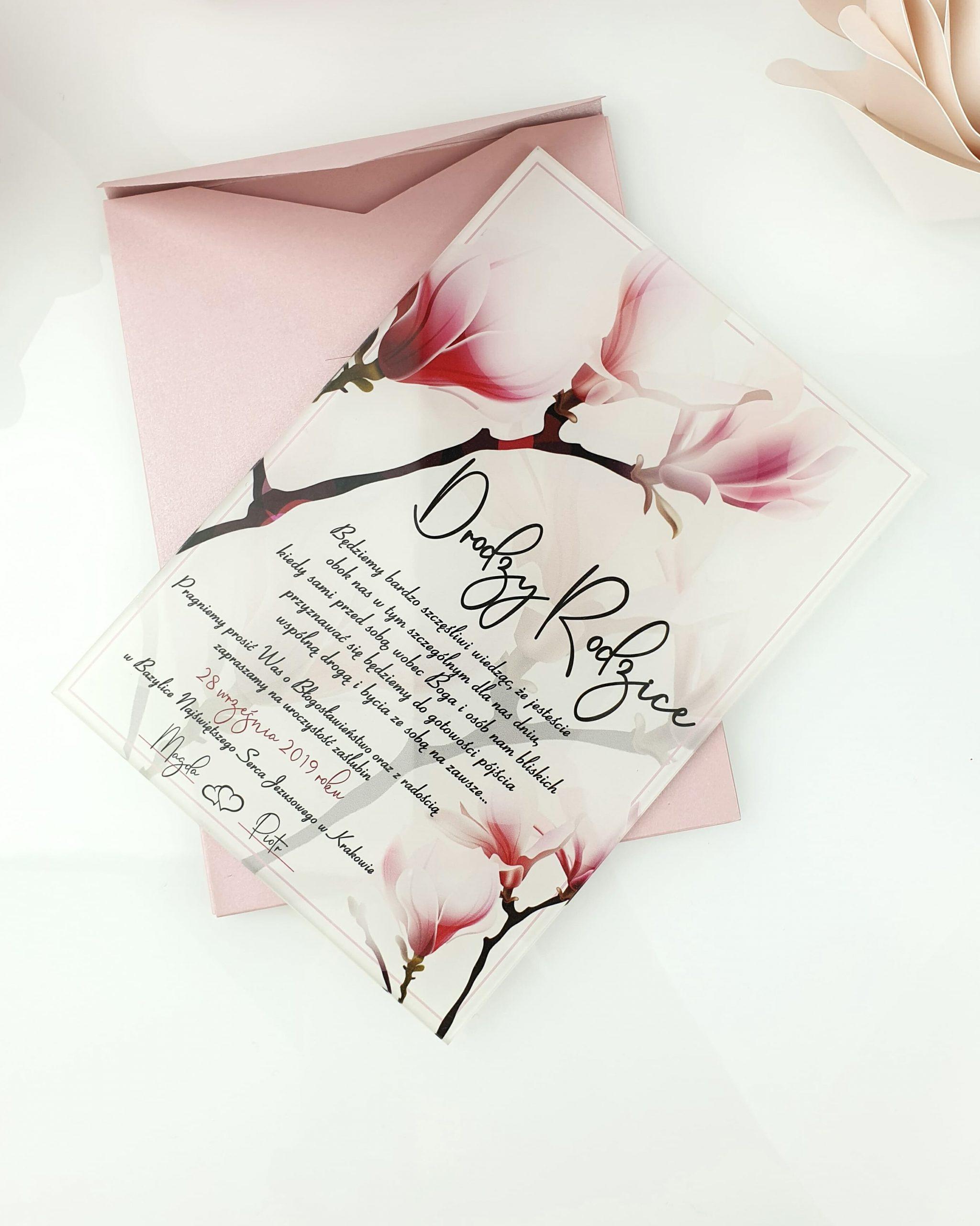 Magnolia zaproszenie na ślub szklana tafla 1