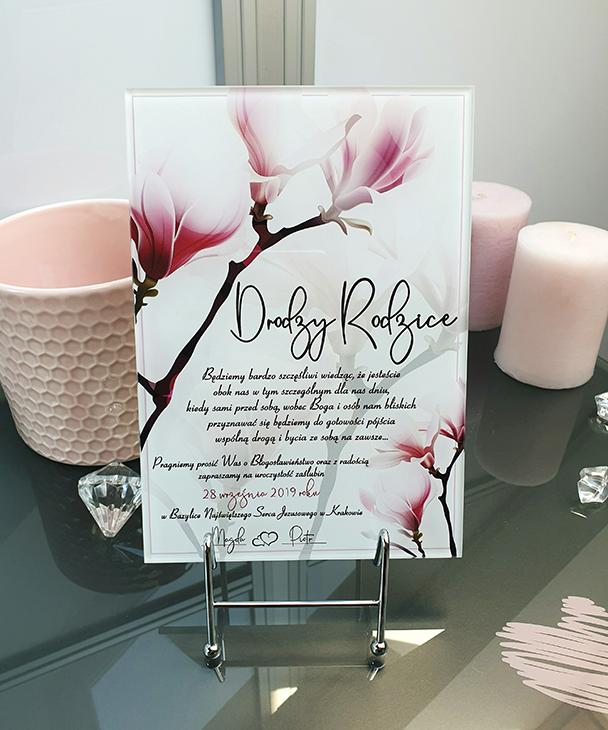 Magnolia zaproszenie na ślub szklana tafla