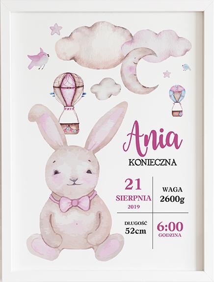 Metryczka akwarelowy królik prezent dla dziecka