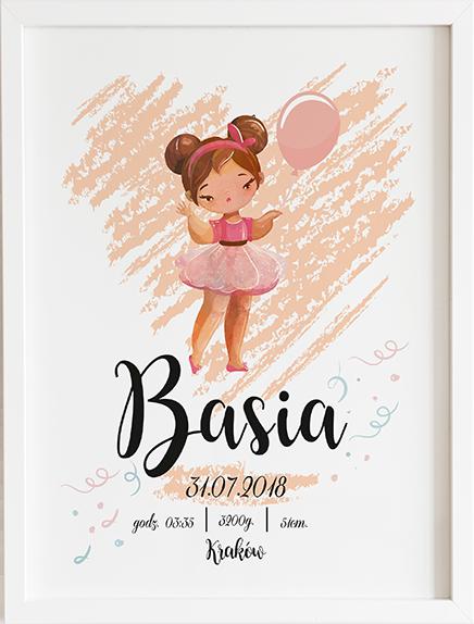 Metryczka dziewczynka z balonikiem pink prezent dla dziecka