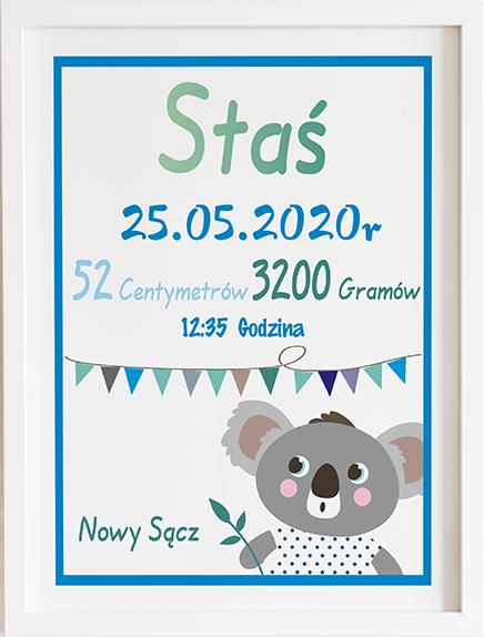 Metryczka koala niebieska prezent dla dziecka
