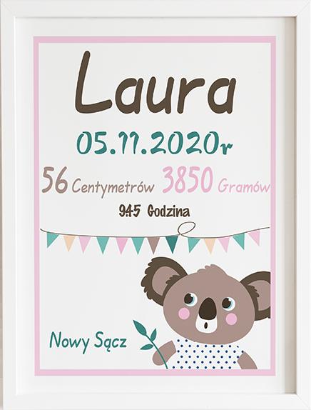 Metryczka koala różowa prezent dla dziecka