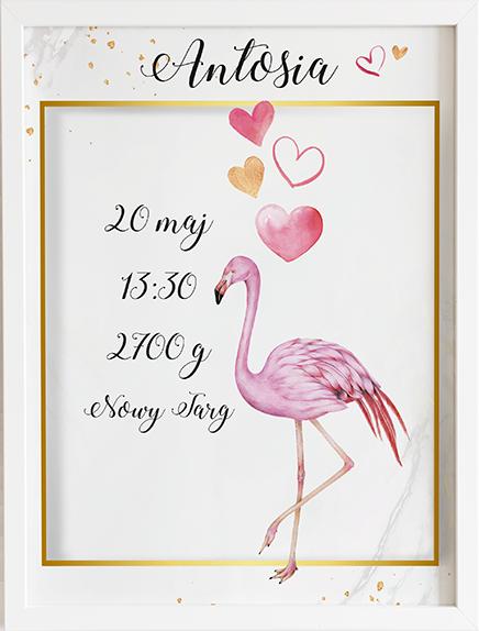 Metryczka love of flamingos prezent dla dziecka