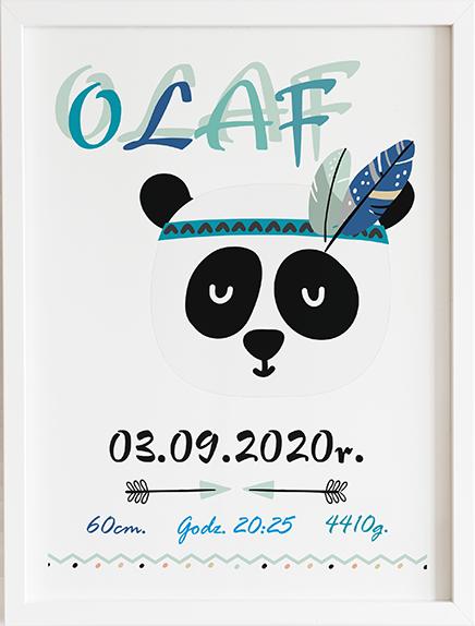 Metryczka panda prezent dla dziecka