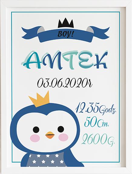 Metryczka pingwin niebieski prezent dla dziecka