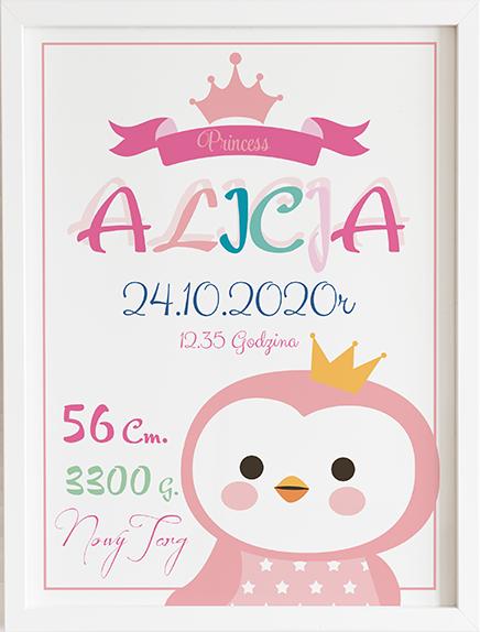 Metryczka pingwin różowy prezent dla dziecka