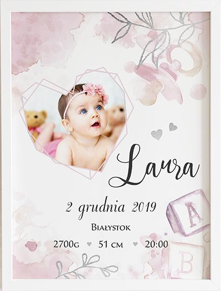 Metryczka pink prezent dla dziecka