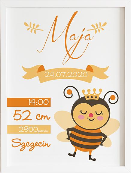 Metryczka pszczółka prezent dla dziecka