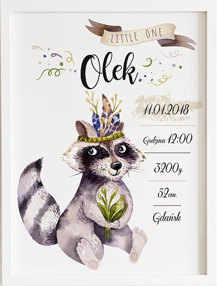 Metryczka szop leśne zwierzęta prezent dla dziecka