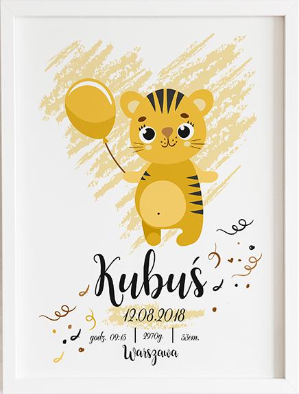 Metryczka tygrysek prezent dla dziecka