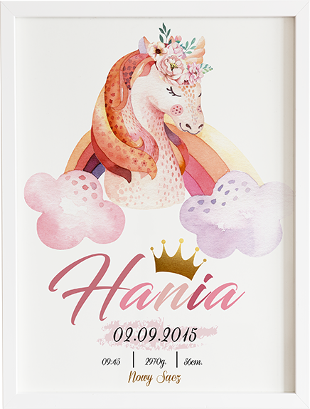Metryczka unicorn prezent dla dziecka
