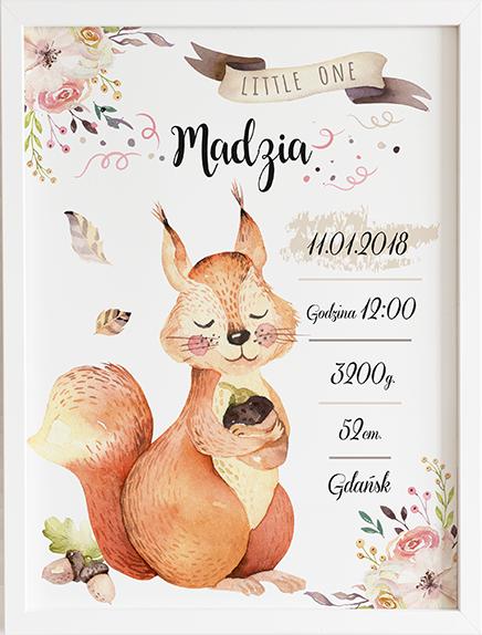 Metryczka wiewiórka leśne zwierzęta prezent dla dziecka