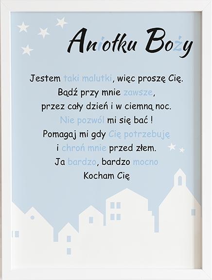 Modlitwa aniele Boży blue pastel series prezent dla dziecka