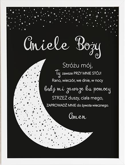Modlitwa aniele Boży b&w księżyc prezent dla dziecka