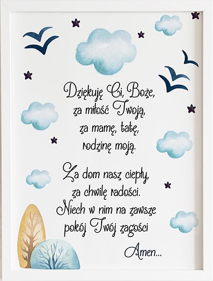Modlitwa aniele Boży chmurka niebieska prezent dla dziecka