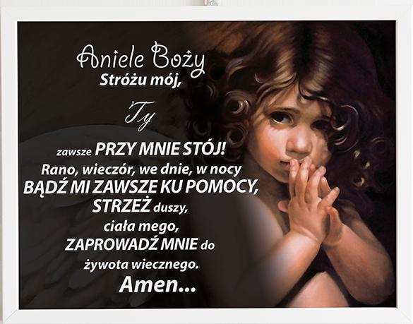Modlitwa aniele Boży czarny klasyczny prezent dla dziecka