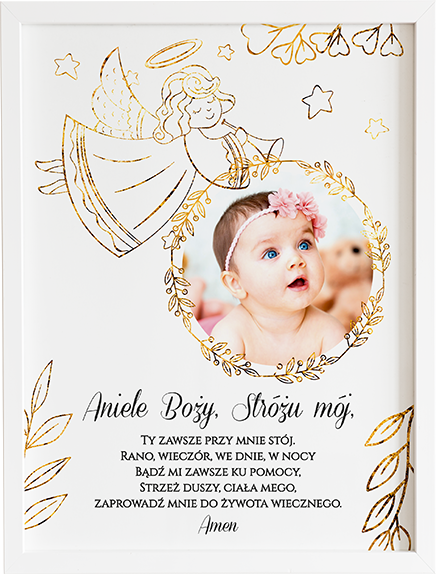Modlitwa aniele Boży gold prezent dla dziecka