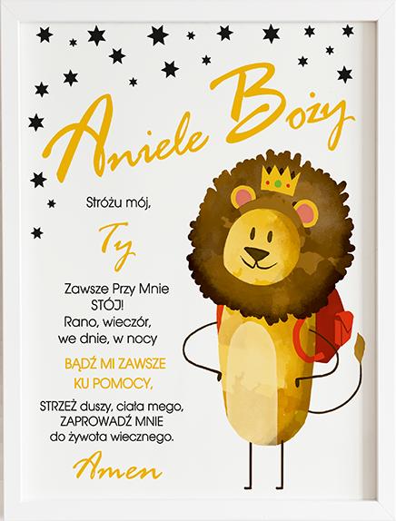 Modlitwa aniele Boży król lew prezent dla dziecka