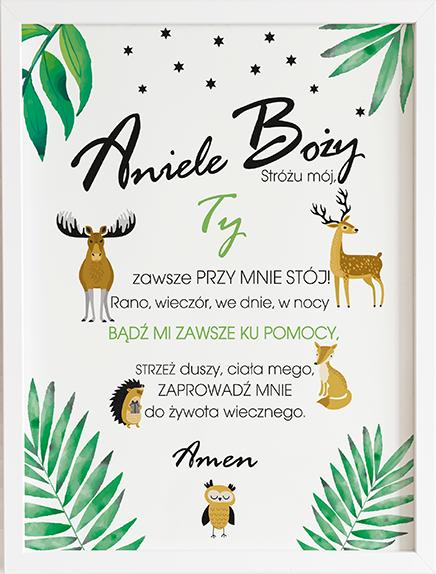 Modlitwa aniele Boży leśni przyjaciele prezent dla dziecka