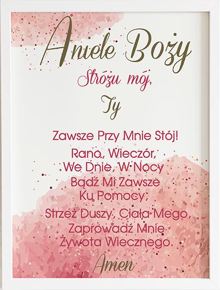Modlitwa aniele Boży różowe kropki prezent dla dziecka